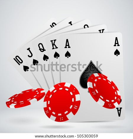 royal flush playing cards with chips