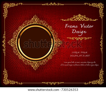 Royal frame on Red pattern background, Vintage photo frame on drake background, antique, vector design pattern