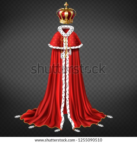 Royal garment 3d realistic vector with king or emperor golden crown decorated precious stones, red cape and royal mantle with ermine fur illustration isolated on transparent background. Monarch cloth