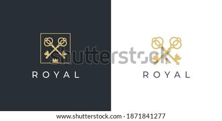 Royal gold key icon. Modern real estate logo template. Crossed classic keys symbol. Luxury hotel sign. Vector illustration. Photo stock ©