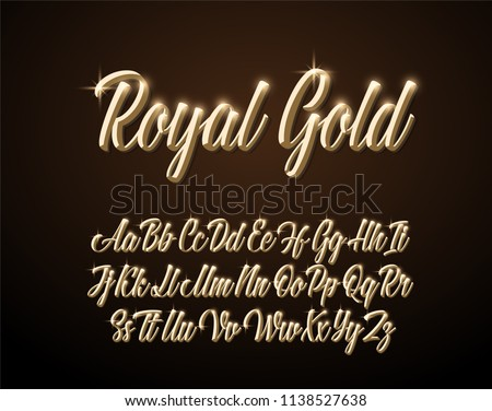 Royal Gold lettering alphabet. Vector font.