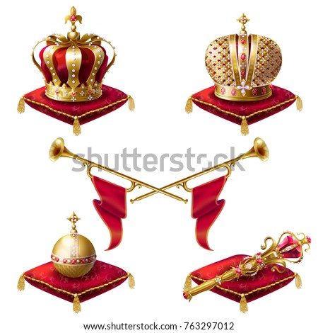 Royal golden crowns with jewels, fanfares, scepter and orb on red velvet pillows, set of vector realistic icons isolated on white background. Heraldic elements, monarchic symbols