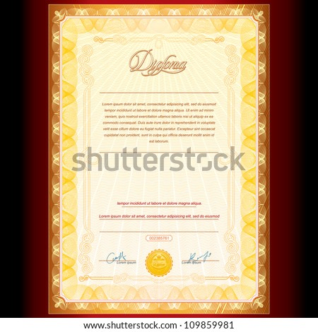 Royal Golden Diploma. Vector Background