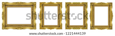 Royal golden invitation frame photo, retro vintage frames set. 	 Set of Decorative vintage frames and borders set,Oval Gold photo frame with corner Thailand line floral for picture, Vector design