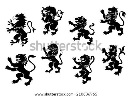 royal heraldic black lions set