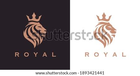 royal lion crown logo template