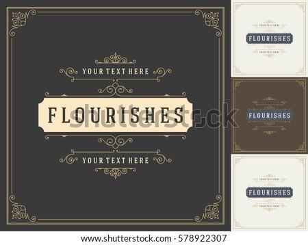 Royal Logo Design Template Vector Decoration, Flourishes Calligraphic Elegant Ornament Frame Lines. Good for Luxury Crest.