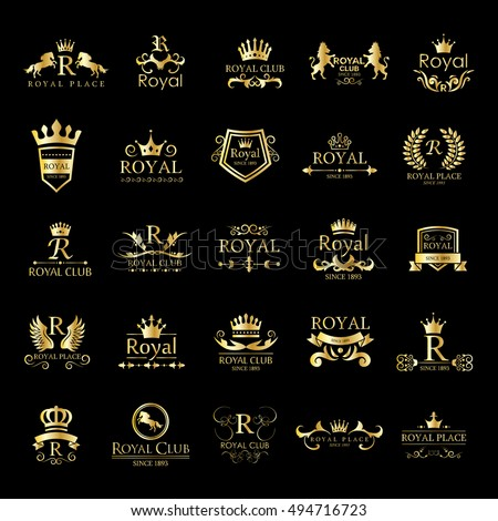 Royal Logo Set - Isolated On Black Background - Vector Illustration, Graphic Design. For Web,Websites,Print,Presentation Templates, App, Mobile Applications And Promotional Materials