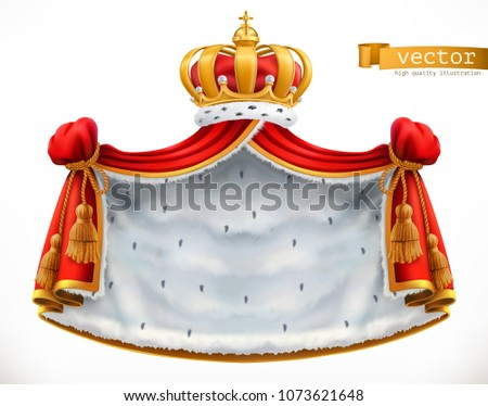 Royal mantle and crown. 3d vector icon