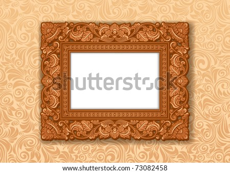 Royal Picture frame, carved wood.
