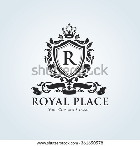 Royal place Logo template. Luxury brand identity with crest and crown.