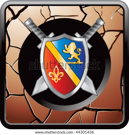 royal shield and swords bronze cracked web icon