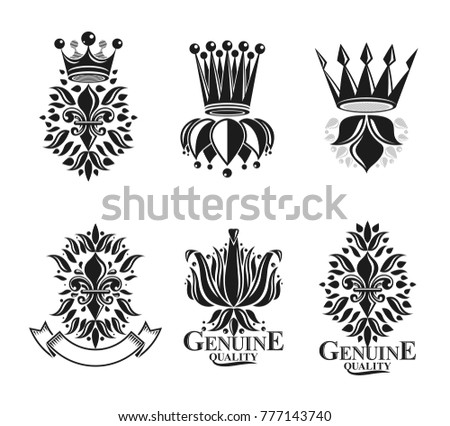 Royal symbols Lily Flowers, floral and crowns, emblems set. Heraldic vector design elements collection. Retro style label, heraldry logo.