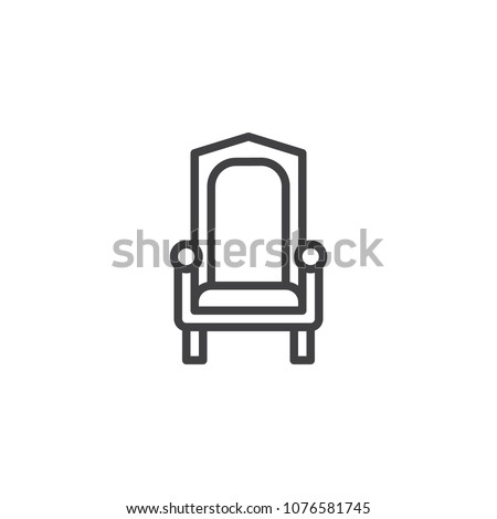 Royal throne outline icon. linear style sign for mobile concept and web design. King throne simple line vector icon. Symbol, logo illustration. Pixel perfect vector graphics