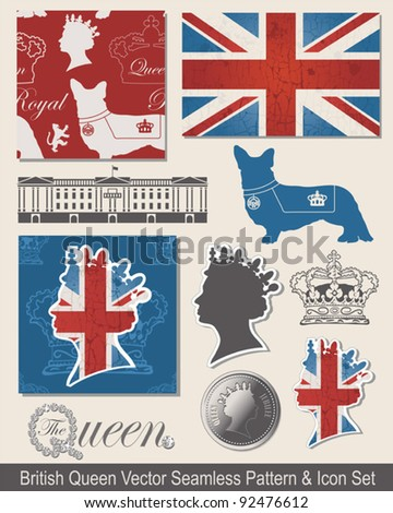 Royal Vector Seamless Patterns and Icons.  Use to celebrate the Queen's Jubilee.