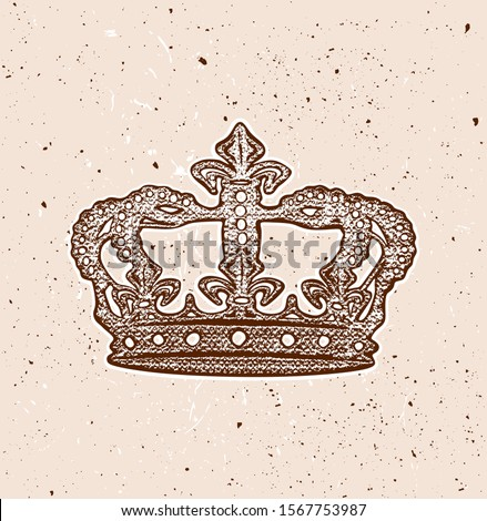 Royal vintage aged brown crown stencil texture
