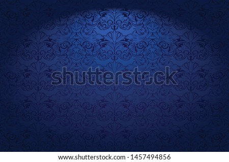 Royal, vintage, Gothic horizontal background in dark blue ultramarine with a classic Baroque pattern, Rococo.With dimming at the edges. Vector illustration EPS 10 Photo stock ©