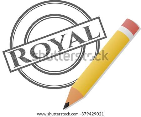 royal with pencil strokes