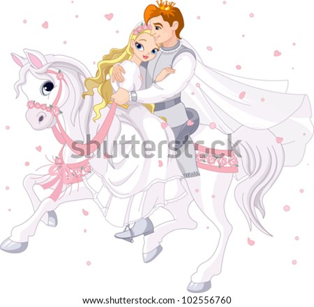 Royalty bride and groom on white horse