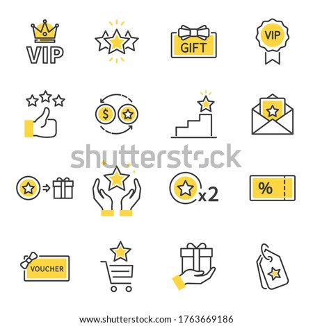 Royalty program line icon set. Included icons as member, VIP, Exclusive, Reward, Voucher, High level, Gift Cards, Coupon, outline icons set,  Simple Symbol, Badge,  Sign. Flat Vector thin line Icon Foto stock ©