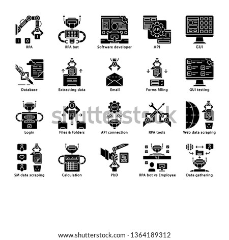 RPA glyph icons set. Robotic process automation. Clerical process automation. Software robots. Artificial intelligence workers. Automate workflows. Silhouette symbols. Vector isolated illustration