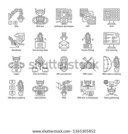 RPA linear icons set. Robotic process automation. Clerical process automation. Software robots. Automate workflows. Thin line contour symbols. Isolated vector outline illustrations. Editable stroke