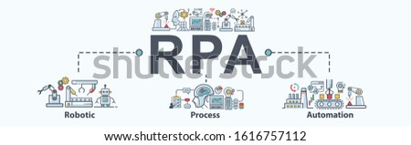 RPA Robotic process automation banner icon for business and industry, bot, algorithm, coding, analyze, automate, working, check and loop. Minimal vector infographic. Stock photo ©