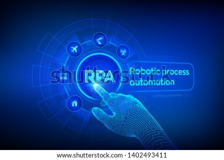 RPA Robotic process automation innovation technology concept on virtual screen. Wireframed robotic hand touching digital graph interface. AI. Artificial intelligence. Vector illustration. Stock photo ©