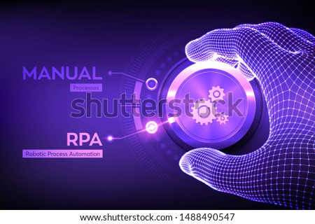 RPA Robotic process automation innovation technology concept. Wireframe hand turning a knob and selecting RPA mode. Intelligent system automation. AI. Artificial intelligence. Vector illustration. Stock photo ©