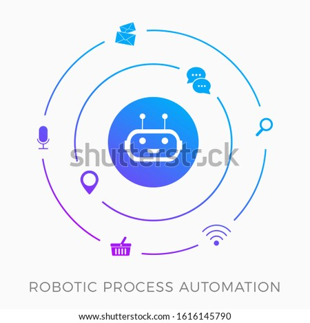 RPA - Robotic Process Automation, innovation technology vector icon concept. Training a AI robot with artificial intelligence to facilitate production processes and routine tasks. Isolated on white