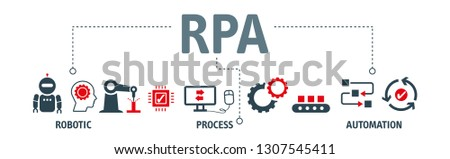 RPA Robotic process automation innovation technology vector illustration concept with keywords and icons Stock photo ©