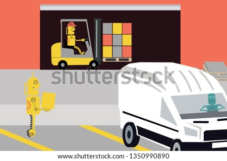 RPA. Robots are loading lorry by forklift and other is driving vehicle. Unmanned vehicle. Robotization of warehouse for logistic business.