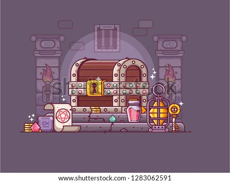 Rpg fantasy game treasure chest with gold and loot. Dungeon crawler gaming illustration with gems, magic runes, spell scroll and burning torches on underground. Heroic adventure discover concept.