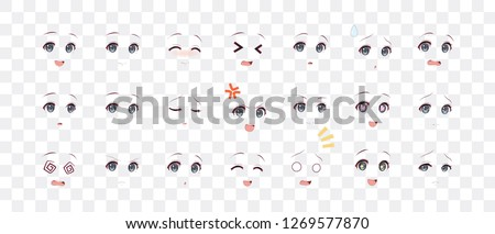 Rreal cartoon eyes of anime (manga) girls, in Japanese style. Set of various emotions