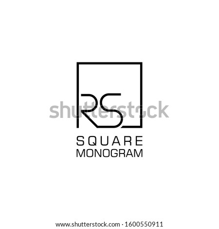 RS Logo design with square frame line vector illustration. isolated on white background Stock fotó ©