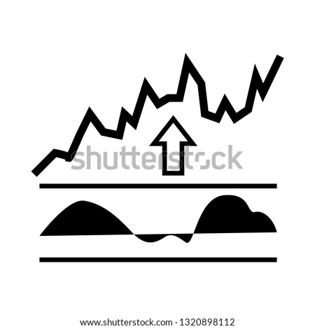 RSI indicator icon isolated on white background, black vector silhouette, forex analytics and technical analysis