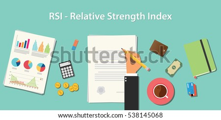 rsi relative strength index business concept illustration terms with business man hand writing working on graph chart money paper work