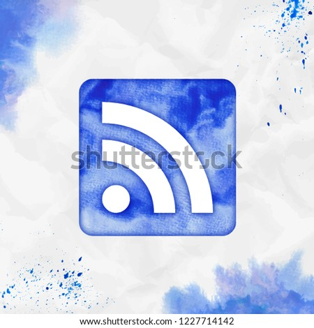 Rss alt watercolor icon. Beauteous hand drawn style symbol. Exotic watercolor symbol. Modern design for infographics or presentation.