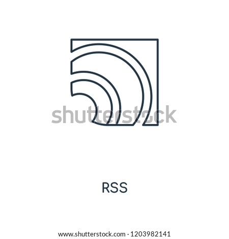 RSS concept line icon. Linear RSS concept outline symbol design. This simple element illustration can be used for web and mobile UI/UX.