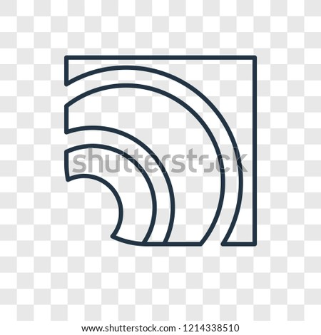 RSS concept vector linear icon isolated on transparent background, RSS concept transparency concept in outline style