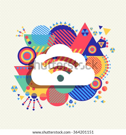 RSS feed cloud computing icon poster design with colorful vibrant geometry shapes background. Social media concept. EPS10 vector.