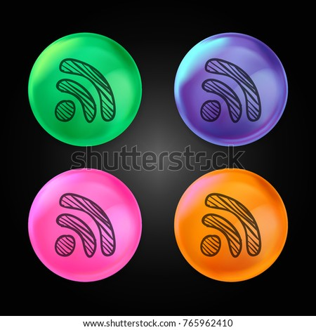 Rss feed sign sketch crystal ball design icon in green - blue - pink and orange.