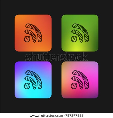 Rss feed sign sketch four color gradient app icon design
