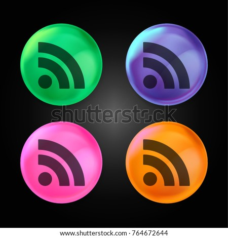 RSS feed symbol crystal ball design icon in green - blue - pink and orange.