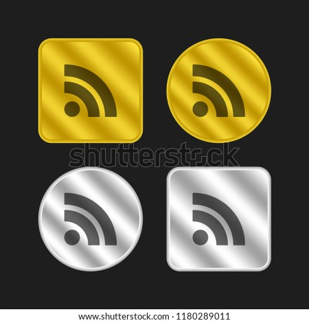 RSS feed symbol gold and silver metallic coin logo icon design
