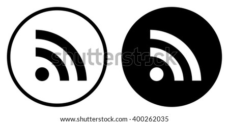 RSS icon in circle . Vector illustration