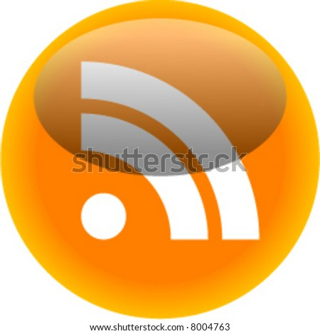RSS icon in orange glass button