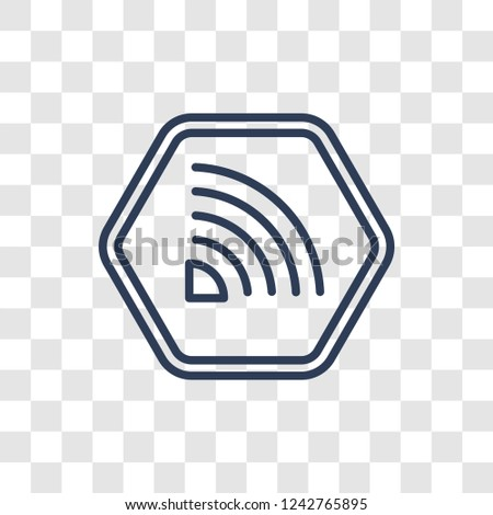 Rss icon. Trendy linear Rss logo concept on transparent background from Marketing collection