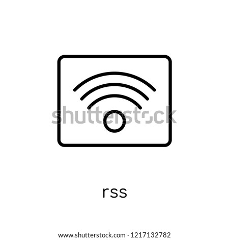 rss icon. Trendy modern flat linear vector rss icon on white background from thin line collection, outline vector illustration