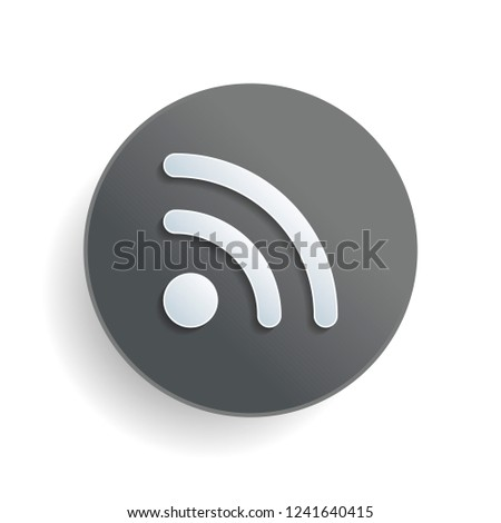 RSS icon. White paper symbol on gray round button with shadow